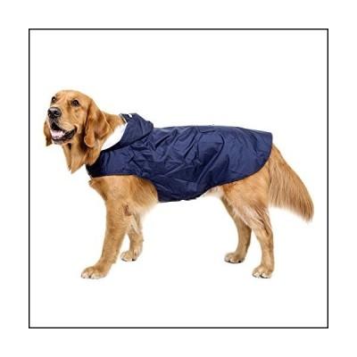 BONAWEN Reflective Dog Rain Coat with Pouch/Leash Hole for Medium,Large,Extr Large Dogs(Navy,3XL)
