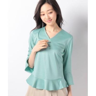 (LAPINE BLANCHE/ラピーヌ ブランシュ)シルキースムース裾フレアデザインカットソー/レディース グリーン