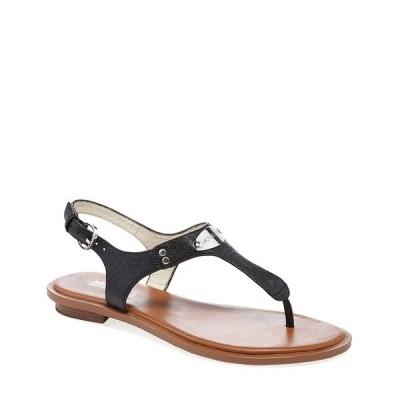 マイケルコース レディース サンダル シューズ MICHAEL Michael Kors Leather MK Plate Thong Sandals Black