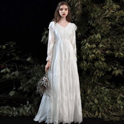 ウエディングドレス 白  長袖 袖あり エンパイア 結婚式 二次会 花嫁 マタニティ ドレス ロングドレス 大きいサイズ 3L シースルー Aライン Vネック