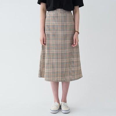 レディース スカート A-line banding check long skirt