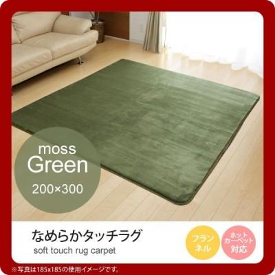 モスグリーン(green) 200×300   ラグ カーペット 4畳 無地 フランネル ホットカーペット対応 送料無料 [代引不可]
