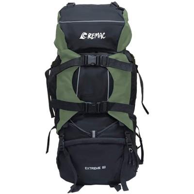 【REMAC】 バックパック 80L 大容量 防水 アウトドア 防災 災害 登山 旅行 リュックサック (ダークグリーン)