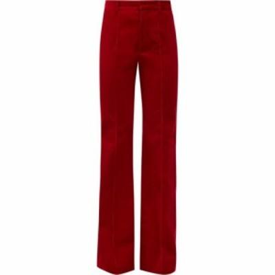 イヴ サンローラン Saint Laurent レディース ボトムス・パンツ High-rise cotton-corduroy flared trousers Red
