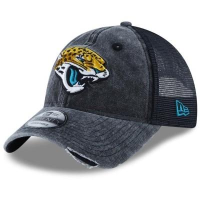 ユニセックス スポーツリーグ フットボール Jacksonville Jaguars New Era Tonal Washed 2 Trucker 9TWENTY Adjustable Hat - Black - OSFA