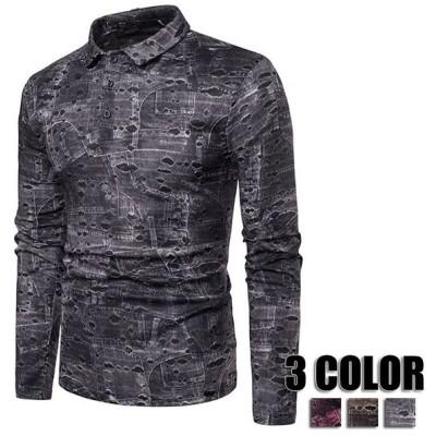 メンズポロシャツ Tシャツ 総柄 ボタンダウン Tシャツ 長袖ポロシャツ 秋冬 S M L XL 2XL ポロシャツ ダメージ メンズ用 3色