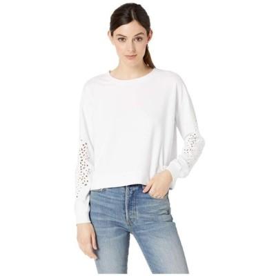 モッドドック レディース パーカー・スウェット アウター Cotton Interlock Sweatshirt with Embroidered Sleeves