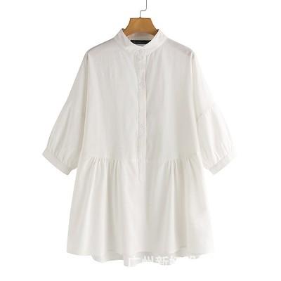 シャツ ブラウス レディース 白 7分袖 秋 トップス 羽織り チュニック ゆったり 無地 綿麻 前開き uネック 大きいサイズ フレア シンプル 6L 春
