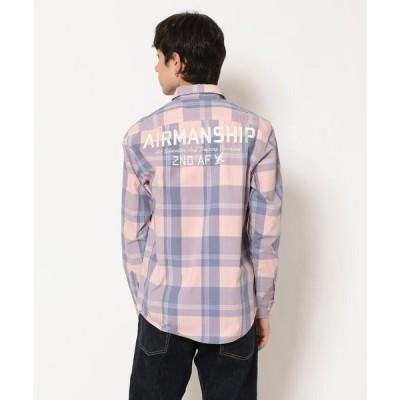 """【アヴィレックス】チェック刺繍シャツ/L/S CHECKERD ENBROIDERY SHIRT""""AIRMANSHIP"""""""