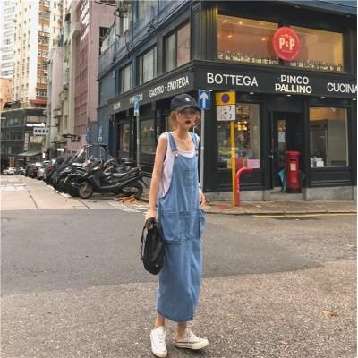 ♡【送料無料】✨春までOK!💖 韓国ファッション  気質 2019 デニム キャミソール ワンピ 大人気  春夏 新作