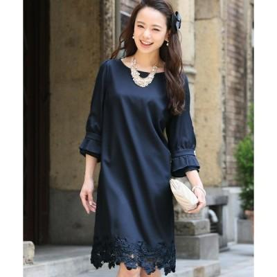 ドレス 七分袖&ミニ丈ワンピースドレスシフォン切替袖大きいサイズ結婚式フォーマル