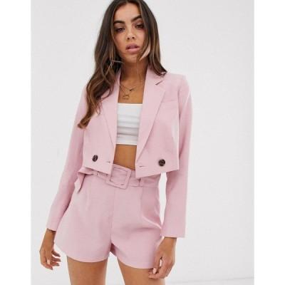 エイソス レディース ジャケット・ブルゾン アウター ASOS DESIGN cropped pink suit blazer Nude