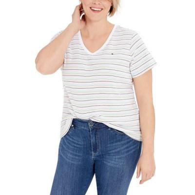 トミー ヒルフィガー カットソー トップス レディース Plus Size Striped V-Neck Top, Created for Macy's White