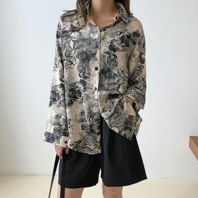 柄シャツ 総柄 レトロ アート風 ライトベージュ オーバーサイズ 長袖 ダンス 衣装 韓国 ヒップホップ レディース