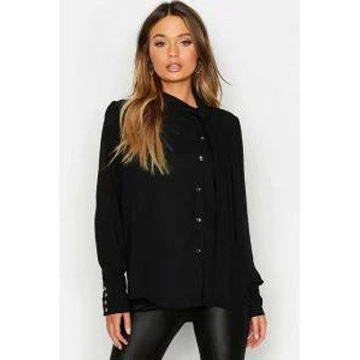 Boohoo レディースシャツ Boohoo Woven Tie Neck Button Detail Blouse black