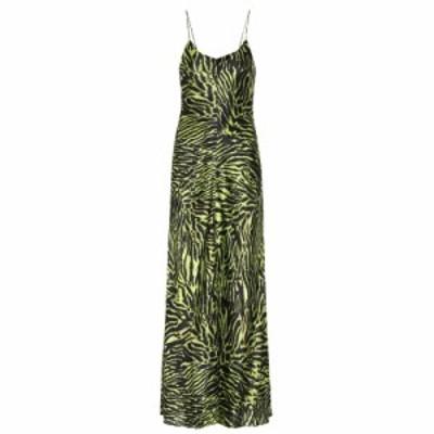 ガニー Ganni レディース ワンピース ワンピース・ドレス Tiger-printed stretch-silk dress Lime Tiger