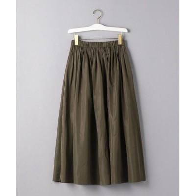 【ユナイテッドアローズ】 UWFM タフタ ギャザー スカート レディース DKGREEN 36 UNITED ARROWS
