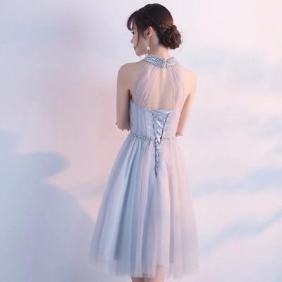 パーティードレス  ワンピースドレス グレー ビジュー レースアップ チュチュドレス 【S-XXLサイズ】
