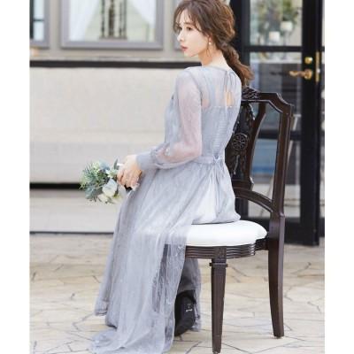 ニアナ niana 2wayバックリボン総レースドレス 結婚式ワンピース (アイスグレー) (グレー)