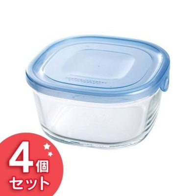 保存容器 ガラス Iwaki NEWパック&レンジ 550ml(4個セット) アクアブルー KBT3240HBLN AGCテクノガラス (D)