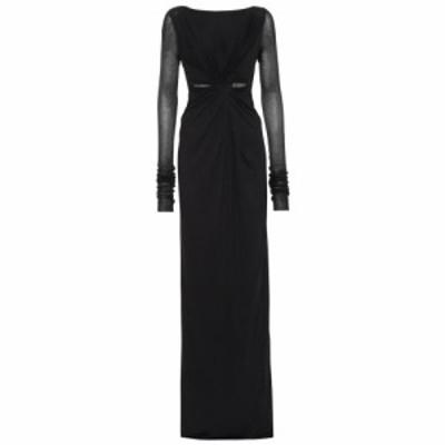 リック オウエンス Rick Owens レディース パーティードレス ワンピース・ドレス Lilies cotton-blend jersey gown Black