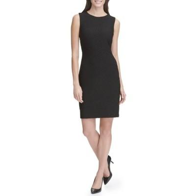 トミー ヒルフィガー レディース ワンピース トップス Jacquard Knit Sheath Dress BLACK
