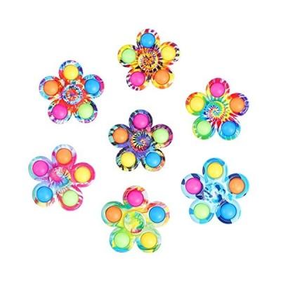 Wanleemet Pop Hand Fidget Spinner Tie-Dyed Simple Dimples 7 Pack Poppers Po