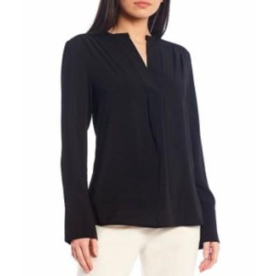 カルバンクライン レディース シャツ トップス Solid Crepe de Chine Split V-Neck Long Sleeve Blouse Black