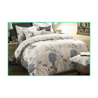 Wake In Cloud - Floral Duvet Cover Set, 100% Cotton Bedding, Botanical Flowers Pattern Printed, with Zipper Closure (3pcs, Queen Size)並行輸入品