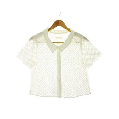 【中古】フォードミルズ FORDMILLS シャツ 半袖 刺繍 白 ホワイト /CK レディース 【ベクトル 古着】