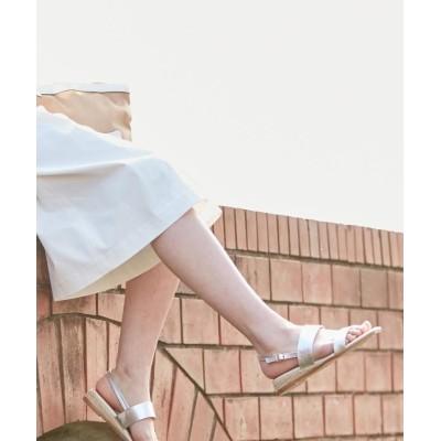 【J.プレス レディス】 バックストラップローヒール サンダル レディース シルバー系 24 J.PRESS LADIES