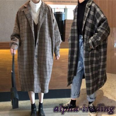 暖かい ロングコート おしゃれ レディース 厚手 チェック柄 女性用 コート 秋冬 ゆったり アウター チェスターコート 体型カバー アウター