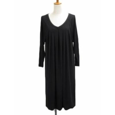 【中古】ダーマコレクション dama collection ワンピース フレア Vネック タック 長袖 1 黒 ブラック レディース