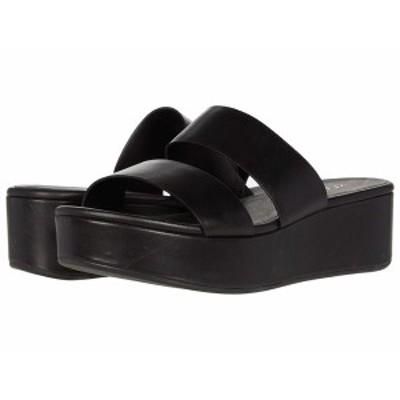 エコー レディース ヒール シューズ Plateau Slide Sandal Black Cow Leather