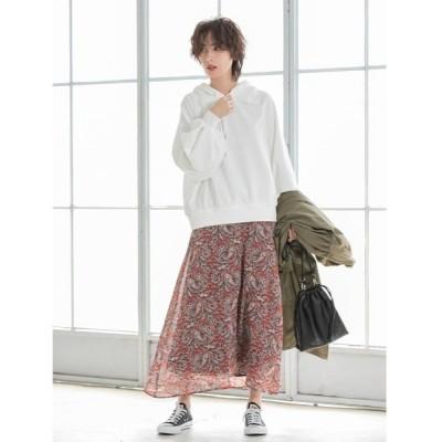 スカート カラーペイズリーロングフレアスカート