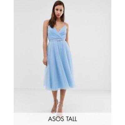 エイソス レディース ワンピース トップス ASOS DESIGN Tall belted pleated tulle cami midi dress Blue