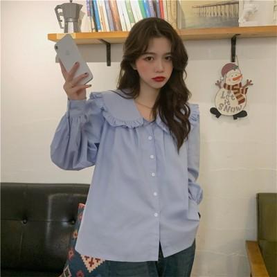 早く買いに来てください 韓国ファッション 2021年春 新作 フリル 人形の襟 ラペル 大きいサイズ 韓国語版 気質 長袖 シャツ エレガント 快適である スリム 百掛け
