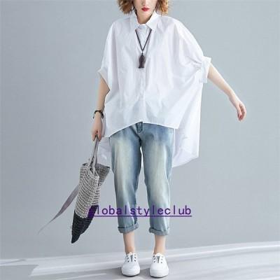 シャツブラウストップスシャツブラウスレディース春夏折り襟コーデギャザー無地5分袖綿コットンリネンtシャツ30代40代2色パフスリーブ