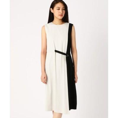 COMME CA / コムサ サテンプリーツ切り替えドレス