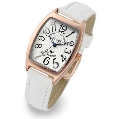 無料特典付き  ミッシェルジョルダン レディース ローズゴールド ホワイト レザー ダイヤモンド カラフル 革 おしゃれ 上品 SL-1100-6 腕時計