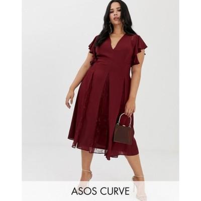 エイソス レディース ワンピース トップス ASOS DESIGN Curve midi dress with lace godet panels