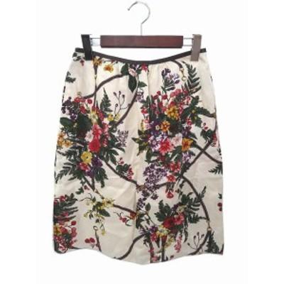 【中古】マカフィー トゥモローランド 花柄 パイピング 異素材 レザー フレア ひざ丈 スカート 36 ホワイト