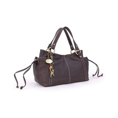 Catwalk Collection Handbags - Women's Soft Leather Top Handle/Slouchy Shoulder Bag - MIA - Mid Brown 並行輸入品