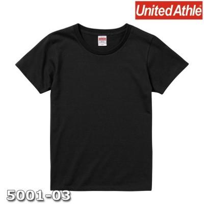 Tシャツ 半袖 ガールズ レディース ハイクオリティー 5.6oz G-S サイズ ブラック 無地 ユナイテッドアスレ CAB