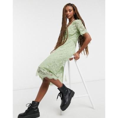 ヴェロモーダ レディース ワンピース トップス Vero Moda textured wrap dress in green