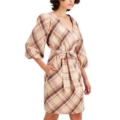アイエヌシーインターナショナルコンセプト ワンピース トップス レディース INC Puff-Sleeve Wrap Dress,  Madison Plaid