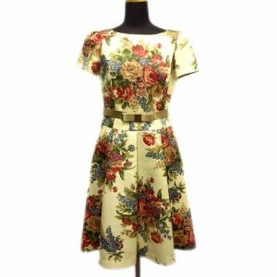 【中古】美品 17SS エムズグレイシー M'S GRACY フラワー プリント ワンピース カットソー プリーツ フレア スカート