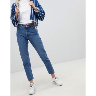 モンキ レディース デニムパンツ ボトムス Monki Kimomo high waist mom jeans with organic cotton in mid blue