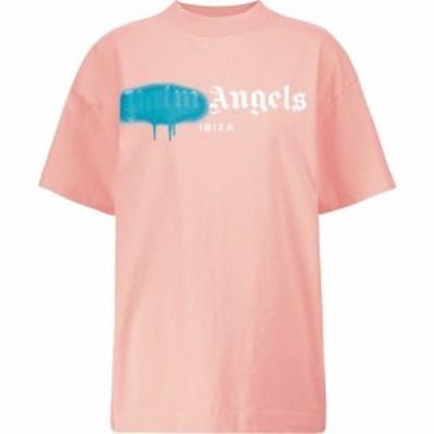 パーム エンジェルス Palm Angels レディース Tシャツ トップス Logo cotton T-shirt Salmon Pink