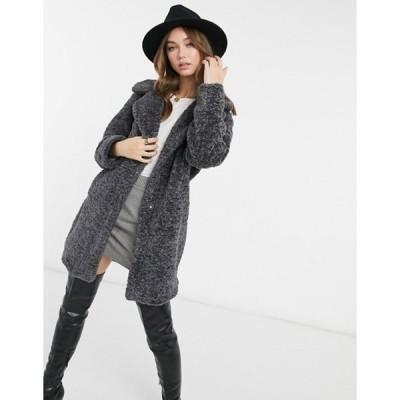 ニュールック レディース コート アウター New Look longline faux fur teddy coat in dark gray